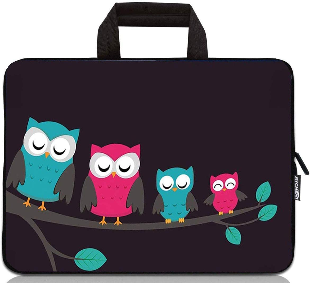 RICHEN 12 inch Neoprene Laptop Carrying Bag Chromebook Case Tablet Travel Cover with Handle Zipper Carrying Sleeve Case Bag Fits 11 11.6 12 12.1 12.5 inch Netbook/Laptop (11-12.5 inch, Cute Owls)