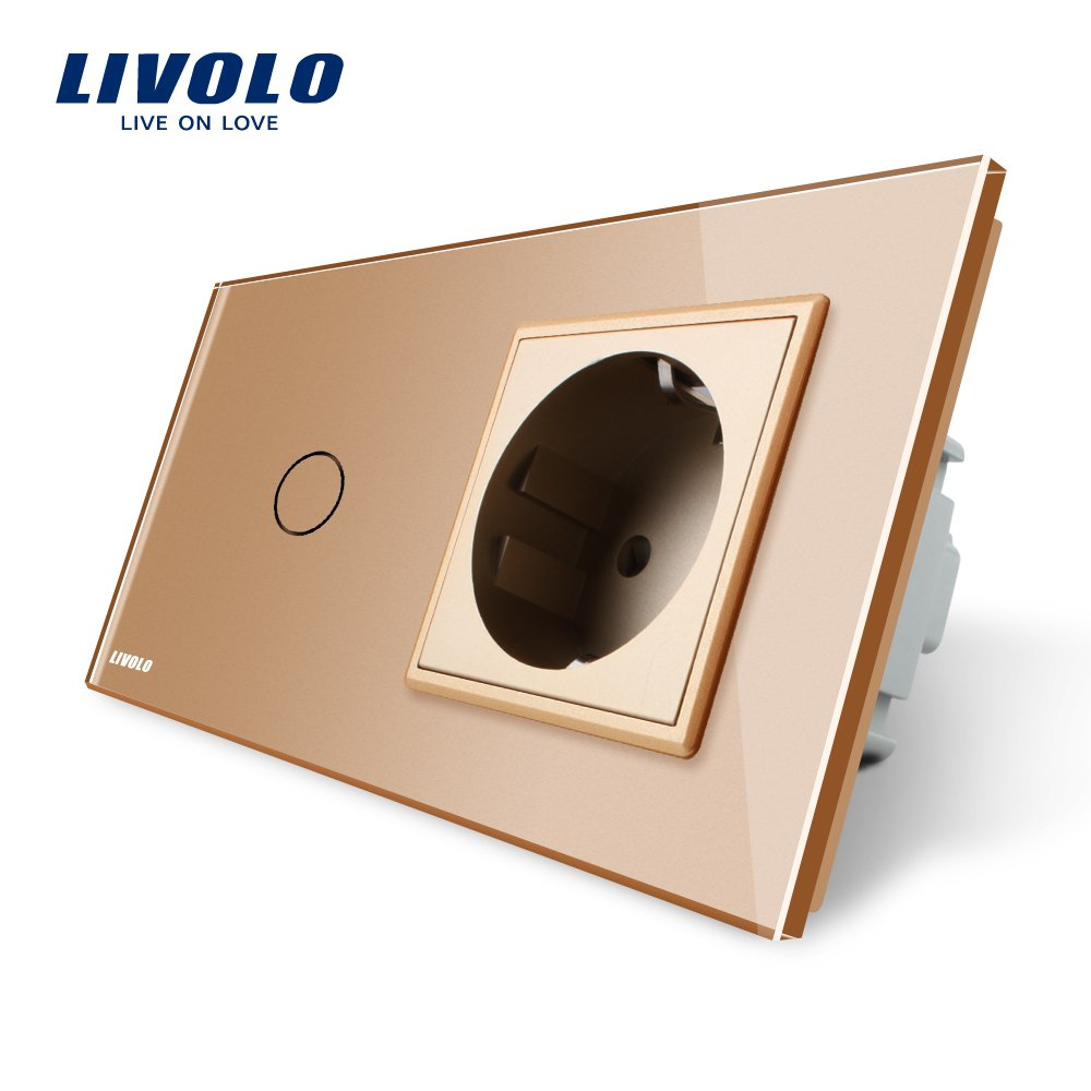 Livolo New sortie 1 prises murales avec Gang verre de cristal type a touche,VL-C701C1EU-13-A