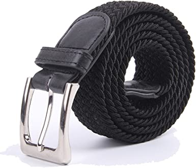 Green Longer Elastic For Men Woven Braided Fabric Comfort Stretch Casual Belts
