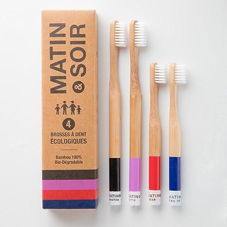 Matin & Soir - Cepillo de dientes, bambú moso de madera natural, dureza