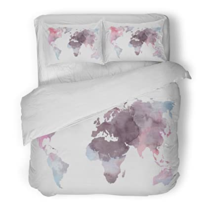 Amazon sanchic duvet cover set atlas colorful world map sanchic duvet cover set atlas colorful world map watercolor abstract perfect watercolour decorative bedding set with gumiabroncs Image collections