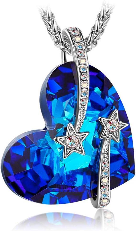 Susan Y Cadeau Noel Collier Femme Argent Cristaux de Swarovski Bleu Bijoux  Cadeau Anniversaire Fete des Meres idee Cadeau Saint Valentin Amoureux ...
