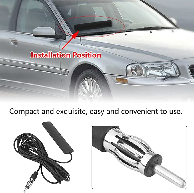 ANT-309 Car Radio Antenna Keenso Universal Car FM Radio Antenna Patch Black Radio Antenna Amplifier Aerial Windscreen Mount 85-112MHZ 5M Cable