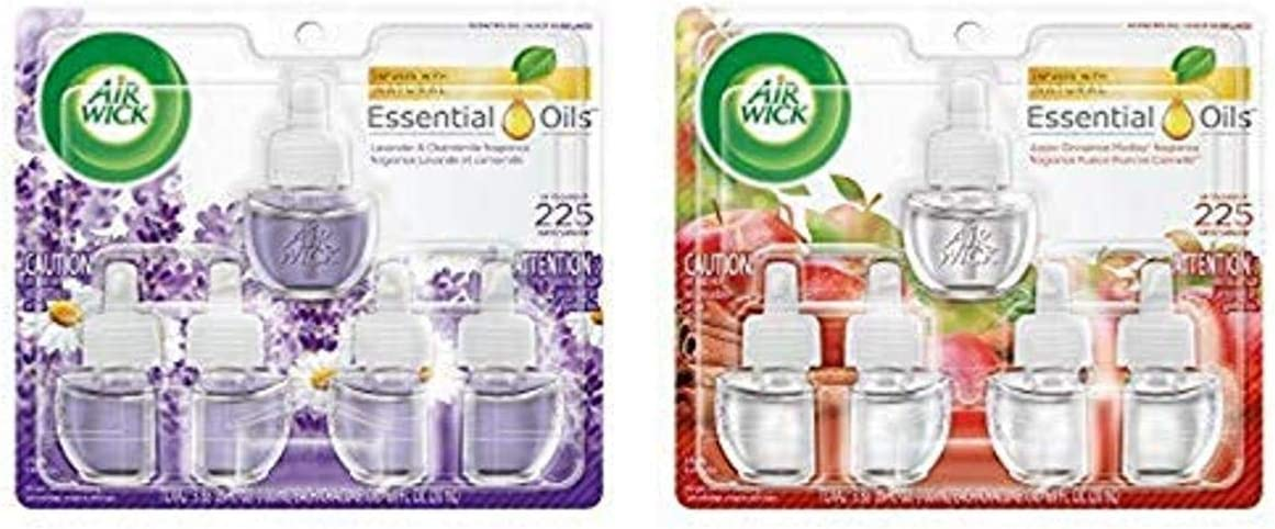 Air Wick Plug in Scented Oil 5 Refills, Lavender & Chamomile, Essential Oils, Air Freshener and Air Wick Plug in Scented Oil 5 Refills, Apple Cinnamon Medley, Essential Oils, Air Freshener