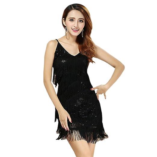 6d369a8e47867 KINDOYO Women Camisole V Neck Latin Dance Dress Fringed Sequins Tassel Ballroom  Salsa Tango Performances Outfits
