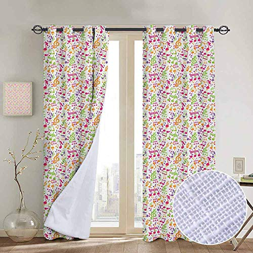 NUOMANAN Bathroom Curtains Music,Inspirational Sound Vibes Theme Sonic Rhythm Melody Cheerful Musical Notes Print, Multicolor,Room Darkening Waterproof Curtains for Bathroom ()