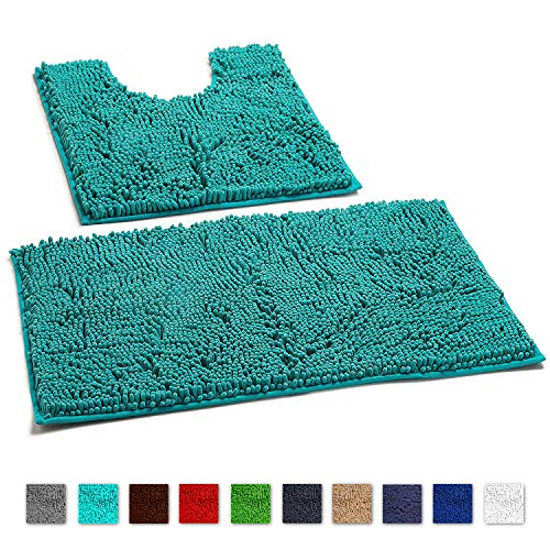 LuxUrux Bathroom Rugs Luxury Chenille 2-Piece Mat Set, Soft Plush Shower Rug + Toilet Mat. 1'' Microfiber Shaggy Carpet, Super Absorbent mats, Machine Washable Bath Mats, (Curved Set, Turquoise)