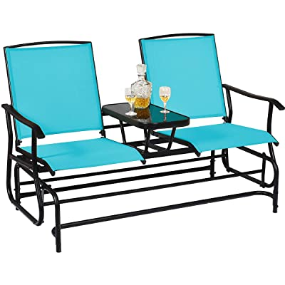 Safstar Patio Glider Bench Double Rocking Chair Loveseat for Patio Backyard Poolside Lawn Turquoise 2-Person Outdoor Glider Chair with Center Table
