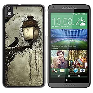 iKiki Tech / Estuche rígido - Lamp Crow Somber Spooky Night - HTC DESIRE 816