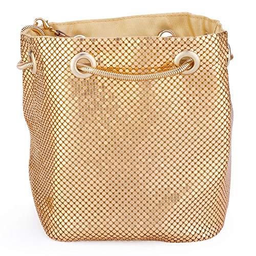 Gold Mesh Clutch - Mesh Chain Mail Bucket Bag Shoulder Bags crossbody bag for Women Metal Mesh Evening Handbags Clutch Purses in Gold