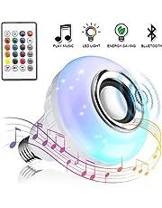 Bombilla Led Inteligente,Vagalbox Música foco RGB E27 Altavoz Bluetooth inalámbrico Regulable Color luz colorida Control remoto Reproductor de audio (12 colores)