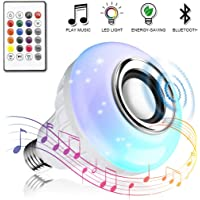 Bombilla LED inteligente, Vagalbox foco RGB E27, Altavoz, Bluetooth inalámbrico, Color regulable, Luz colorida, Control remoto, Reproductor de audio (12 colores)