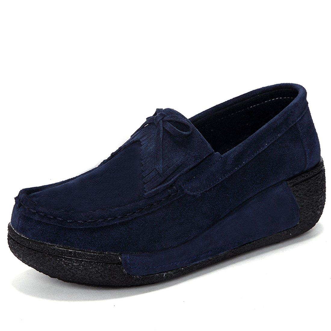 Z.SUO Mocassins Femmes Suède Casuel 19993 Confort Mocassins Z.SUO Chaussures Loafers Bleu.2 176206e - therethere.space