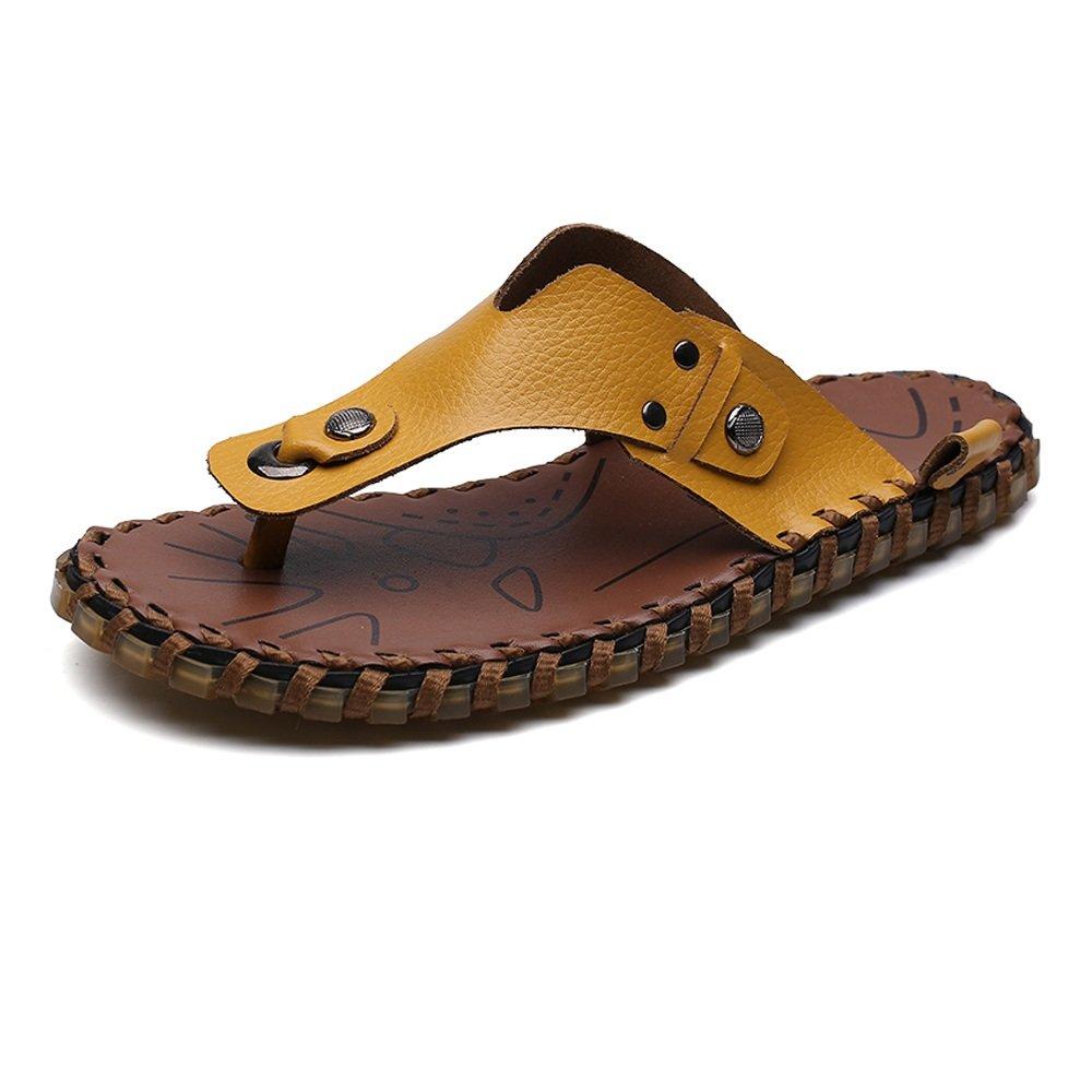 Chanclas de los Hombres Zapatillas de Playa de Cuero Genuino Trabajo Hecho a Mano Informal Sandalias Planas Suaves Antideslizantes,para los Hombres 40 EU|Yellow