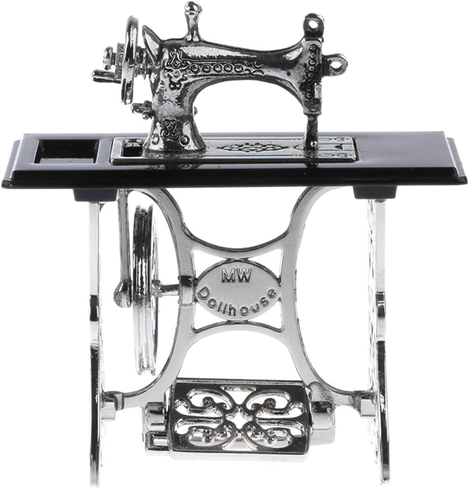 DYNWAVE 1:12 Sewing Machine Dolls House Furniture Miniature Black and Silver