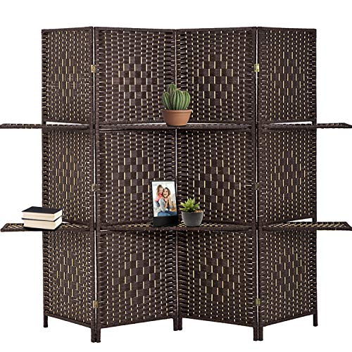 4 Panel Room Divider and Folding Privacy Screens Wood Wall Divider 6 foot Tall Folding Room Divider Screens with Shelves for Privacy Room Office