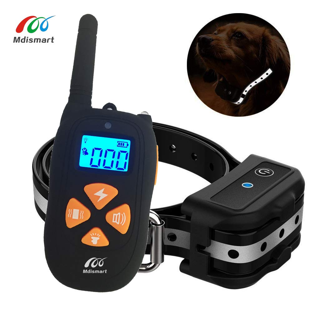 Mdismart Premium Dog Training Collar New Version 2000ft Remote Rechargeable Waterproof E-Shock Collar with Beep Vibration Shock for Small Medium Large