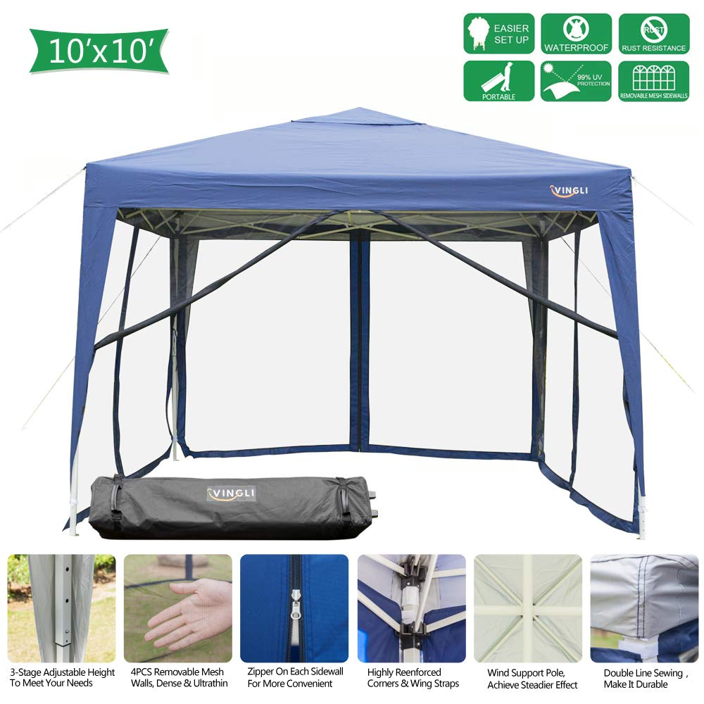 VINGLI 10x10ft Easy Pop Up Canopy Tent w/ 4 Removable Zippered Mesh Sidewalls & Portable Wheeled Carrying Bag, for Patio/Gazebo/Camping/Outdoor Activities, UV Coated Sun Shade Shelter, Blue by VINGLI