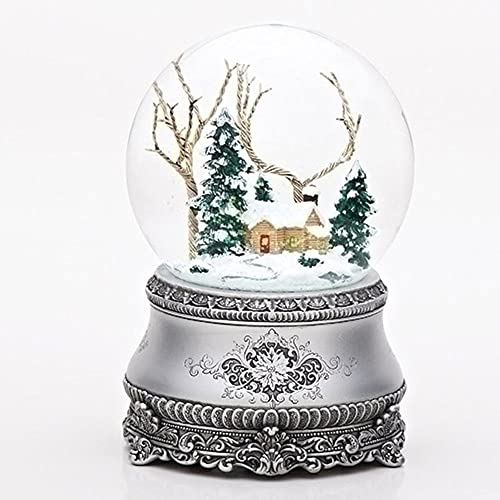 Roman 5.5 Cottage with Tree Glitter Silver Base 100mm Dome Plays I ll Be Home for Christmas