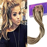 LaaVoo 16'' One piece Ponytail Hair Extensions Color #4 Chocolate Brown and #27 Honey Blonde Highlighted Human Hair Balayage Extensions Remy Straight Real Hair Extensions 80 Grams