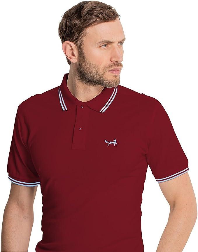 Asquith & Fox - Polo - Clásico - para Hombre Rojo Burgundy & Sky ...