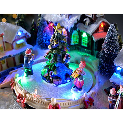 Pre Lit Rotating Christmas Tree.Werchristmas Pre Lit Led Musical Animated Christmas Village