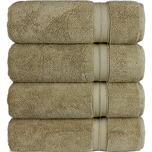 (Hotel and Spa Quality 4-Piece Bath Towels, Soft and Thick, Driftwood)