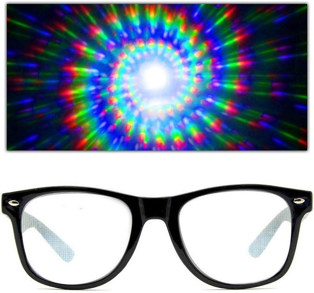 GloFX Spiral Ultimate Diffraction Glasses – Rave Prism Grating Glasses Rainbow Firework Spirals