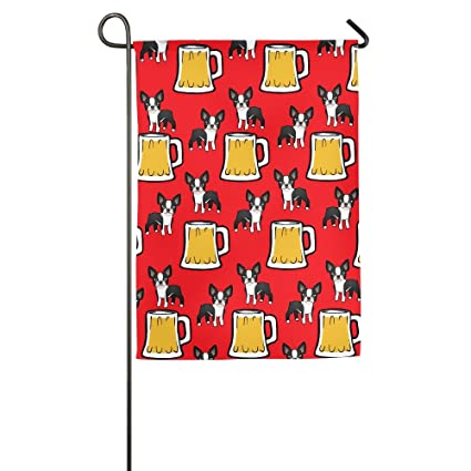 happy new year boston terriers with beer durable decorative garden flag
