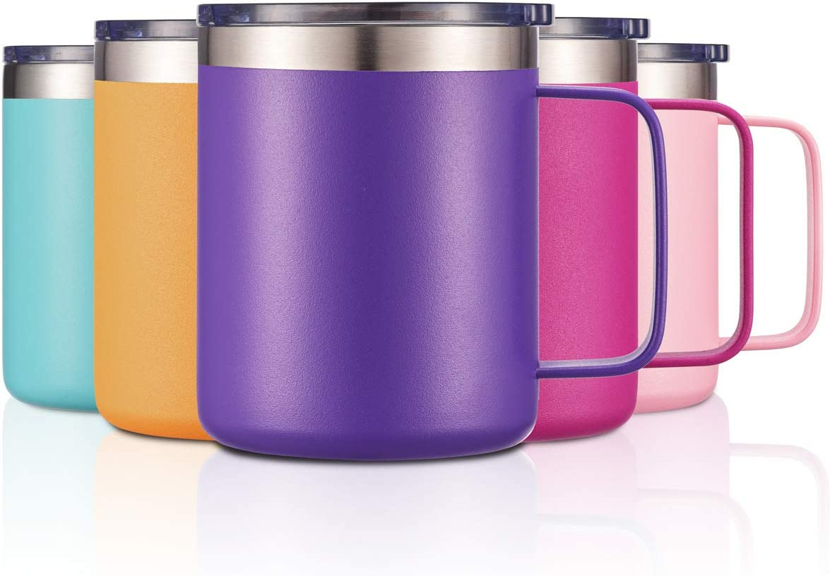 12oz Stainless Steel Insulated Coffee Mug with Handle, Double Wall Vacuum Tumbler Cup with Lid, Purple, 1 Pack