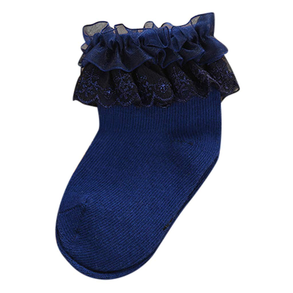 Muium Newborn Baby Girls Boys Lace Cute Floor Socks Anti-Slip Slipper Winter Warm Mid Tube Step Socks for 0-12 Months