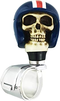 Black Abfer Car Turning Knob Skull Shape Car Steering Wheel Spinner Power Assist Helper Suicide Knobs for Most Vehicles Trucks
