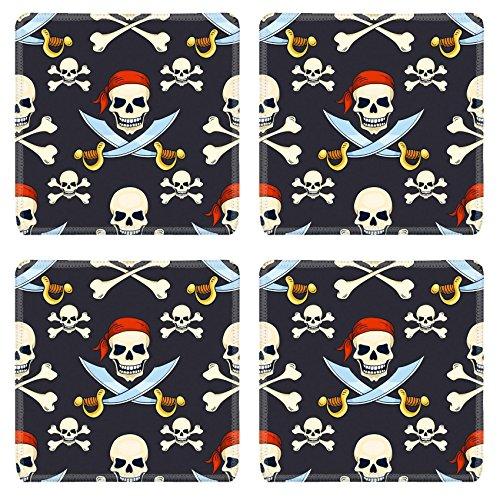 Luxlady Square Coasters Non-Slip Natural Rubber Desk Coasters IMAGE ID: 34258795 Cartoon vector hand drawn pirate skulls seamless pattern Halloween backg]()