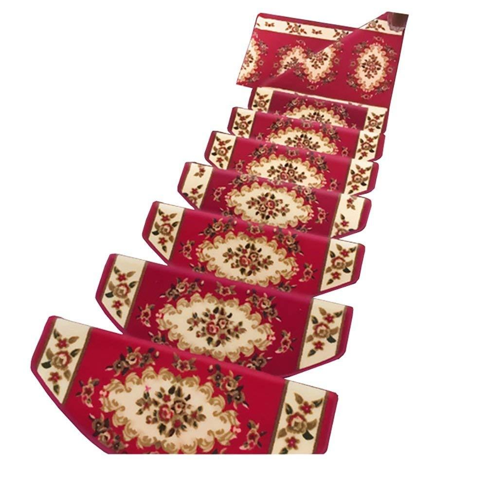 ヨーロッパの赤い階段踏面パッドの純木の階段注文のカーペットの接着剤なしの滑り止めの敷物のマット(色:10部分、サイズ:65 * 24 * 3cm) B07STW622F 10 Piece 65*24*3cm