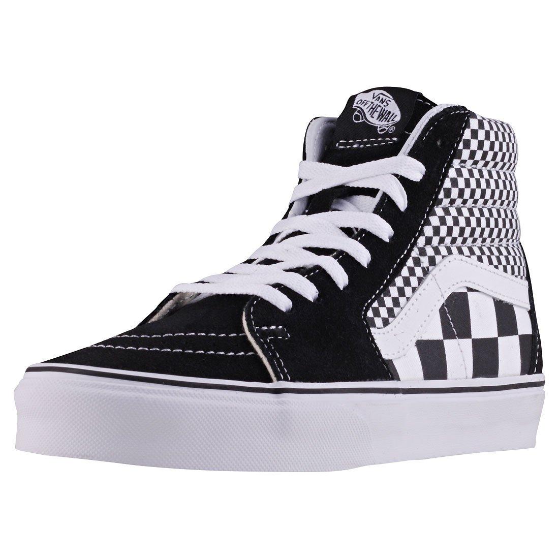 Vans Unisex SK8-Hi Mono Skate Shoes Mixed Checker/Black/True White 7 B(M) US Women/5.5 D(M) US Men
