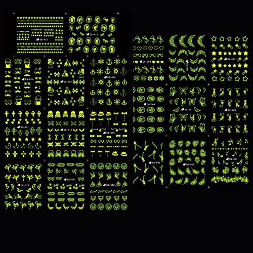 PUEEN Glow In Dark Water Tattoo Nail Art Sticker Collection Set 24 Packs All Different Designs (Over 500 Stickers) Nails Decal Decorations - GID24-BH000467 -
