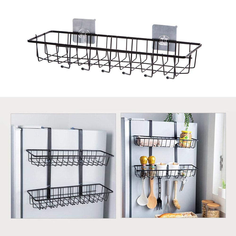 Johlycao Kitchen Rail Rack Heavy Duty Kitchen Basket Organize Wall Stainless Steel Hanger Hooks Hanging Storage Basket for Extra Storage Space
