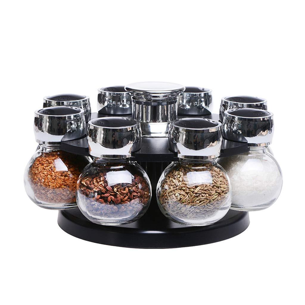 Goquik Rotating Seasoning Jar Set Creative Glass Seasoning Box Salt Shaker Seasoning Household Kitchen Storage Supplies Combination by Goquik