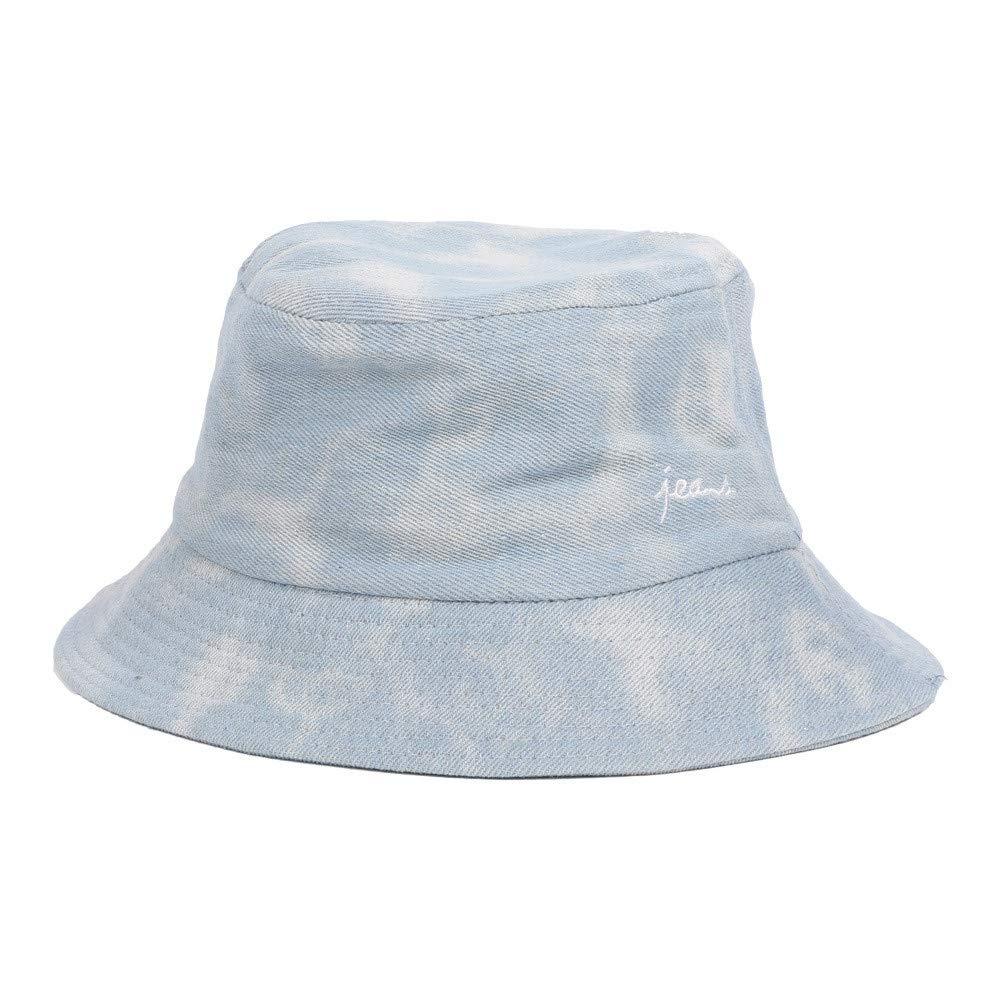 Fashion Adults Packable Bucket Hat Summer Travel Sun Fishing Fisher Beach Festival Cap (Light Blue, Free Size)