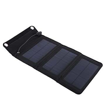 Alomejor Solar Panel Charger 5W Waterproof Portable USB Outdoor Solar Panel Charger with USB Cable for Smartphone Tablet Camera Powerbank and Camping Travel