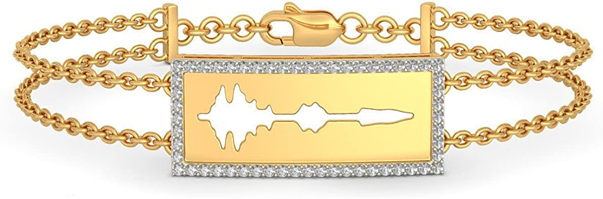 identification-bracelets Size IJ| SI HallMarked 0.336 cttw Round-Cut-Diamond 6.75 inches 14K Yellow Gold