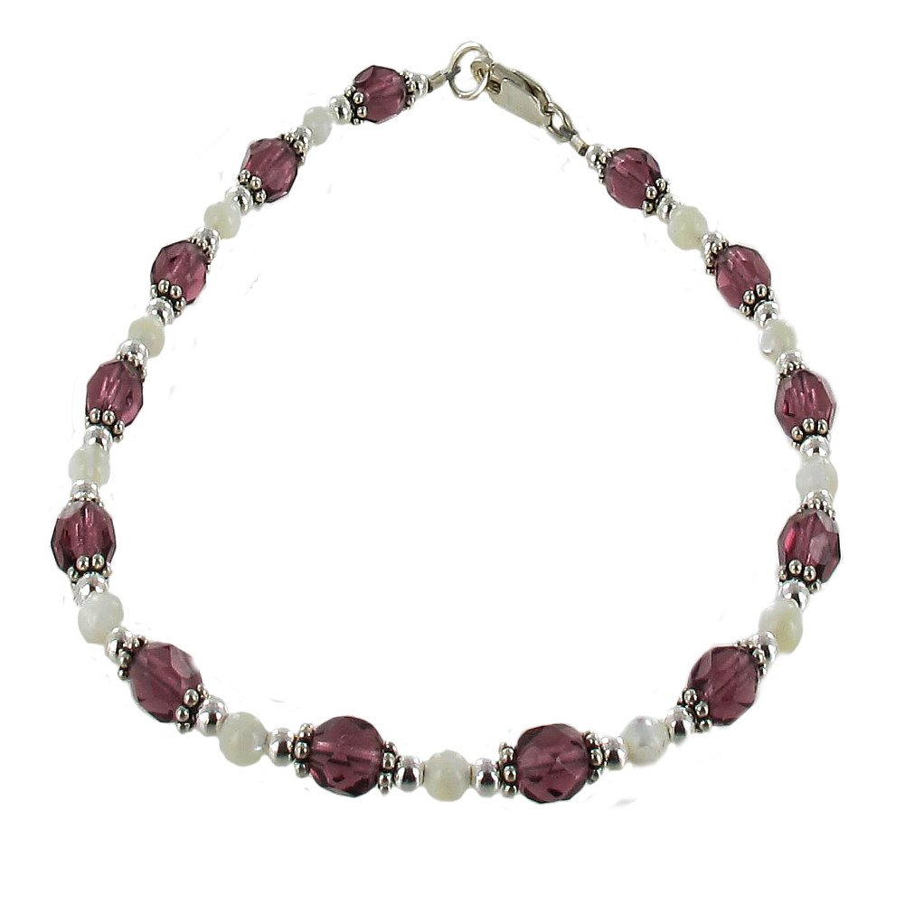 Timeless-Treasures Womens Amethyst Color Czech Fire Polished Glass, Mother of Pearl & Sterling Anklet w/Daisies - 12''