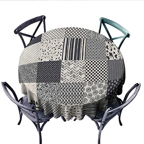 Geometric Customized Round Tablecloth Abstract Collage Like Image with Flowers Stripes Modern Shapes Waterproof Circle Tablecloths (Round, 54 Inch, Black White and Charcoal Grey)