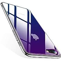 TORRAS iPhone8ケース iPhone7ケース 4.7インチ 対応 9H 背面強化ガラス 日本旭硝子製 高透明 三層構造 黄変防止 四隅滑り止め ストラップホール付き(グラデーション ブルー)[ Fancy Series]