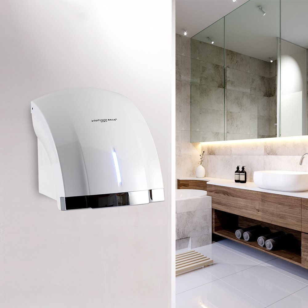 interhasa! Hand Dryer, Dry Hands Quickly Easy to Install For Bathroom,Low Noise 50dB,Intelligence Sensing System Hand Dryer Commercial,Powerful 1800W ABS material With timing progress light