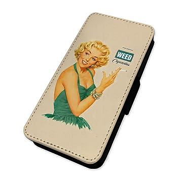 Retro hierba chica fumar - Sexy Pin Up Girl - Funda con tapa tipo cartera funda Samsung Galaxy S7 Edge: Amazon.es: Electrónica