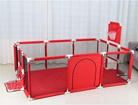 HBIAO Baby Playpen, Portable Rectangle Toddlers Play Yard Children's Play Fence Door Activity Center with Mat and Basketball Hoop,Red
