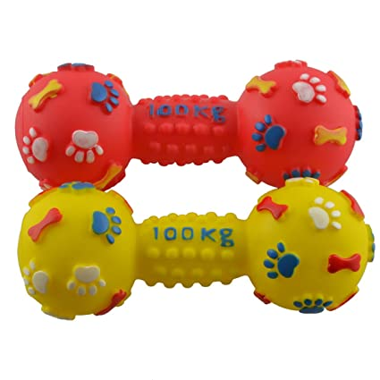 Com Dogloveit Vinyl Rubber Squeaky Dumbbell Dog Toy Small Colors Vary Pet Supplies
