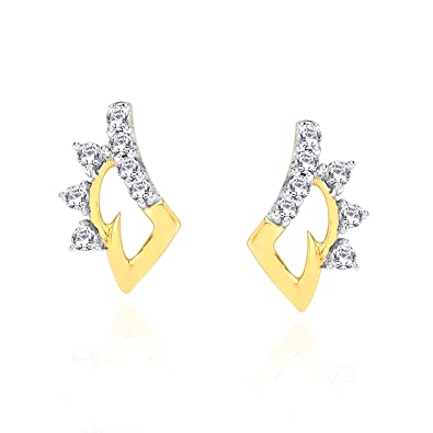Buy D'Damas Modern 18k Yellow Gold and Diamond Stud Earrings