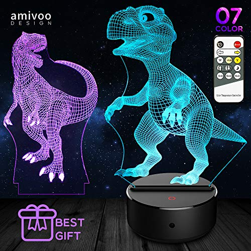 2 IN 1 Dinosaur 3D Illusion Lamp - 7 Colors Changing Touch 3D Night Lights for Kids Remote Control Table Desk Lamp | Dinosaurs Toy Boys Girls Cool Christmas Birthday Gifts Idea (Tyrannosaurus Rex)